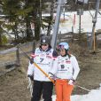 Albert de Monaco et Barbara Merlin lors de l'événement World Stars Ski au profit de Star Team for Children, association fondée par le prince Albert II de Monaco, le 22 mars 2014 à Seefeld in Tyrol, en Autriche.