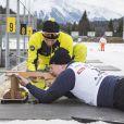 Le prince Albert de Monaco au tir couché en plein biathlon lors de l'événement World Stars Ski au profit de Star Team for Children, association fondée par le prince Albert II de Monaco, le 22 mars 2014 à Seefeld in Tyrol, en Autriche.