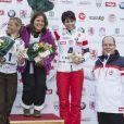 Denise Karbon, Pernilla Wiberg, Isolde Kostner et le prince Albert lors de l'événement World Stars Ski au profit de Star Team for Children, association fondée par le prince Albert II de Monaco, le 22 mars 2014 à Seefeld in Tyrol, en Autriche.