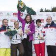 Denise Karbon, Pernilla Wiberg, Isolde Kostner, et Albert de Monaco lors de l'événement World Stars Ski au profit de Star Team for Children, association fondée par le prince Albert II de Monaco, le 22 mars 2014 à Seefeld in Tyrol, en Autriche.
