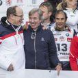 Les princes Albert de Monaco et Leopold de Bavière lors de l'événement World Stars Ski au profit de Star Team for Children, association fondée par le prince Albert II de Monaco, le 22 mars 2014 à Seefeld in Tyrol, en Autriche.
