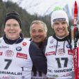Albert de Monaco, Riccardo Patrese et Christof Innerhofer lors de l'événement World Stars Ski au profit de Star Team for Children, association fondée par le prince Albert II de Monaco, le 22 mars 2014 à Seefeld in Tyrol, en Autriche.