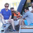 Exclusif - Elton John, son mari David Furnish, et leurs deux fils Elijah Joseph Daniel Furnish John et Zachary Jackson Levon Furnish John de retour à Nice après une journée à Saint-Tropez, le 22 août 2013.