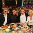 """François Valéry, Jean-Marie Bigard, Yves Lecoq, Evelyne Leclercq - Enregistrement de l'émission """"Les années bonheur"""" à Paris le 11 mars 2014. L'émission sera diffusée le 12 avril."""