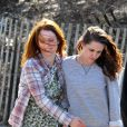 """Kristen Stewart et Julianne Moore sur le tournage du film """"Still Alice"""" à New York, le 21 mars 2014."""