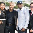 """Courtney Kemp Agboh , Omari Hardwick, 50 Cent, de son vrai nom Curtis James Jackson III et Chris Albrecht lors du photocall de la série """"Power"""" au MIPTV à Cannes, le 7 avril 2014."""
