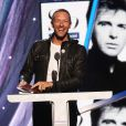 Chris Martin rend hommage à Peter Gabriel au concert d'intronisation au Rock and Roll Hall of Fame, à New York le 10 avril 2014.