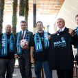 David Beckham et ses partenaires lors de l'annonce de l'implantation d'une nouvelle franchise de foot à Miami, le 5 février 2014