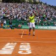 Jo-Wilfried Tsonga lors de son huitième de finale face à Fabio Fognini, le 17 avril 2014 lors du Masters 1 000 de Monte-Carlo