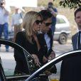 Kate Moss assiste aux funérailles de Peaches Geldof à Davington dans le Kent, le 21 avril 2014.