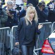 Jo Wood (ex-femme de Ronnie Wood) aux funérailles de Peaches Geldof à Davington dans le Kent, le 21 avril 2014.