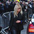 Jo Wood (ancienne femme de Ronnie Wood) assiste aux funérailles de Peaches Geldof à Davington dans le Kent, le 21 avril 2014.