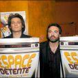 """Yvan Le Bolloc'h et Bruno Solo lors de la première du film """"Espace détente"""" en 2005."""