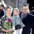 La princesse Estelle de Suède avec ses parents la princesse Victoria et le prince Daniel à Stockholm le 12 mars 2014