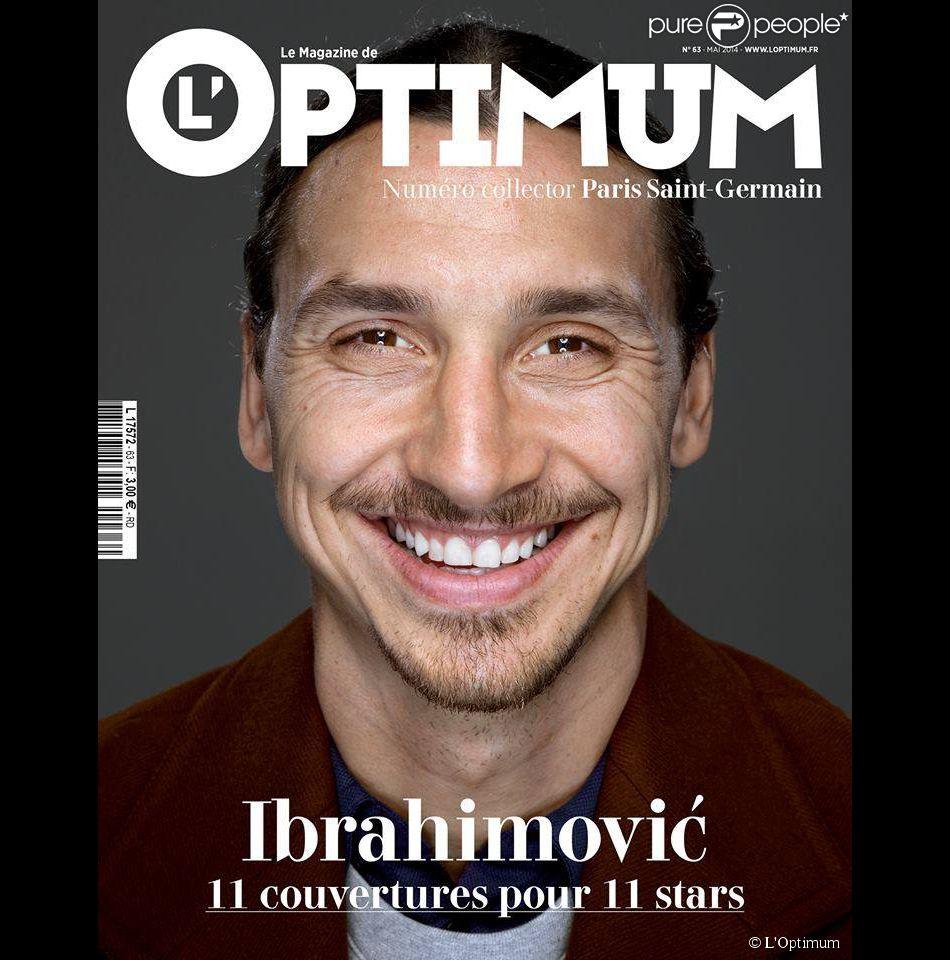 Zlatan Ibrahimovic en couverture de L'Optimum dans son édition du mois de mai 2014 spécial PSG avec onze unes différentes