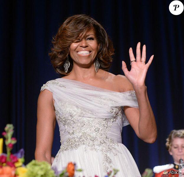 Michelle Obama au dîner des correspondants de la Maison Blanche, à Washington, le 3 mai 2014. Elle était renversante en Marchesa.