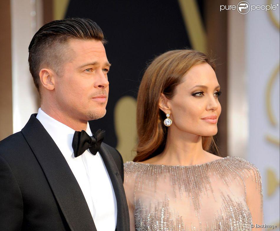 Brad Pitt et Angelina Jolie - 86e cérémonie des Oscars à Hollywood, le 2 mars 2014.