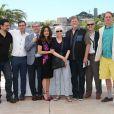 """Bill Plympton, Paul Brizzi, Joan C. Gratz, Salma Hayek, Gaetan Brizzi, Tomm Moore, Joann Sfar - Photocall """"Hommage au cinéma d'animation"""" et présentation du projet """"The Prophet"""" lors du 67e festival international du film de Cannes, le 17 mai 2014."""
