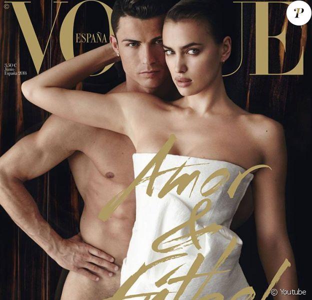 Cristiano Ronaldo, entièrement nu, et sa chérie Irina Shayk, photographiés par Mario Testino en couverture du numéro de juin 2014 de Vogue España.