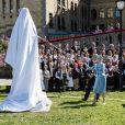 La reine Margrethe II de Danemark participait à l'inauguration de la statue du roi Christian Frederik à Oslo en Norvège le 18 mai 2014