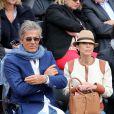 Dominique Desseigne et sa compagne Alexandra Cardinale lors des Internationaux de France à Roland-Garros à Paris, le 29 mai 2014