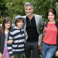 François Vincentelli entouré de ses enfants (Ange et Lucie) et de sa compagne Alice Dufour lors des Internationaux de France à Roland-Garros à Paris, le 29 mai 2014