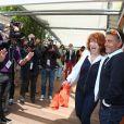 Gérard Holtz et sa femme Muriel Mayette lors des Internationaux de France à Roland-Garros à Paris, le 29 mai 2014