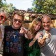 Laeticia et Johnny Hallyday avec Christian Audigier et Nathalie Sorensen à Los Angeles, le dimanche 1er juin 2014.