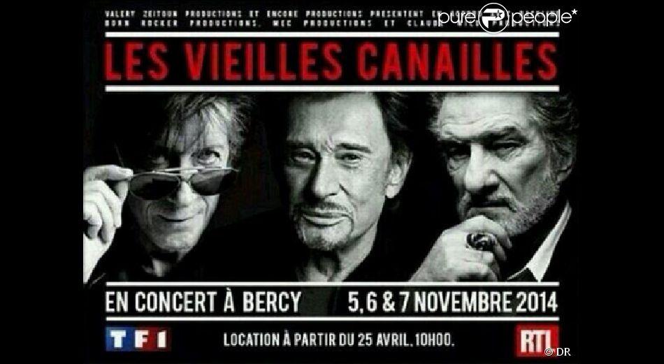 Johnny Hallyday, Eddy Mitchell et Jacques Dutronc - Les Vieilles canailles se produiront sur la scène de Bercy à Paris du 5 au 9 novembre 2014.