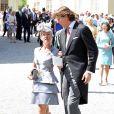 Alice Bamford et le comte Ernst Abensperg und Traun, marraine et parrain, au baptême de la princesse Leonore de Suède, fille de la princesse Madeleine et de Christopher O'Neill, le 8 juin 2014 en la chapelle du palais Drottningholm à Stockholm.