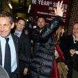 Nicolas Sarkozy et Carla Bruni sortant du Town Hall après le concert de madame à New York, le 24 avril 2014.