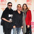 Tomo Milicevic, Shannon Leto et Jared Leto du groupe Thirty Seconds To Mars aux MTV Europe Music Awards 2013 à Amsterdam, le 10 novembre..