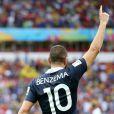 Karim Benzema après la victoire de l'équipe de France contre le Honduras 3 à 0 lors de la Coupe du monde à Porto Alegre le 15 juin 2014