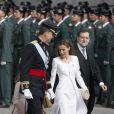 Le roi Felipe VI et la reine Letizia d'Espagne lors de la cérémonie de sa proclamation en tant que nouveau roi d'Espagne à Madrid le 19 juin 2014.