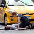 Jessica Chastain et James McAvoy en plein tournage du film ''The Disappearance of Eleanor Rigby'' à New York le 23 août 2012