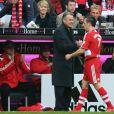Ottmar Hitzfeld et Franck Ribéry après la victoire du Bayern Munich sur Karlsruhe à Munich, le 8 mars 2008