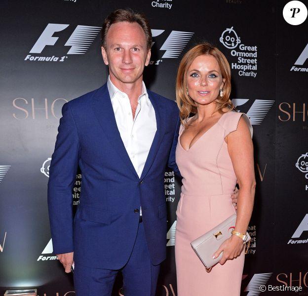 Geri Halliwell et son compagnon Christian Horner lors de la soirée de charité F1 au V&A Museum de Londres, le 2 juillet 2014.
