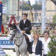 Guillaume Canet, Virginie Coupérie-Eiffel et Christophe Bonnat - Paris Eiffel Jumping, présenté par Gucci, au Champ de Mars à Paris. Le 4 juillet 2014