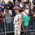 Ulyana Sergeenko arrive au musée Rodin pour assister au défilé haute couture Christian Dior automne-hiver 2014-15. Paris, le 7 juillet 2014.