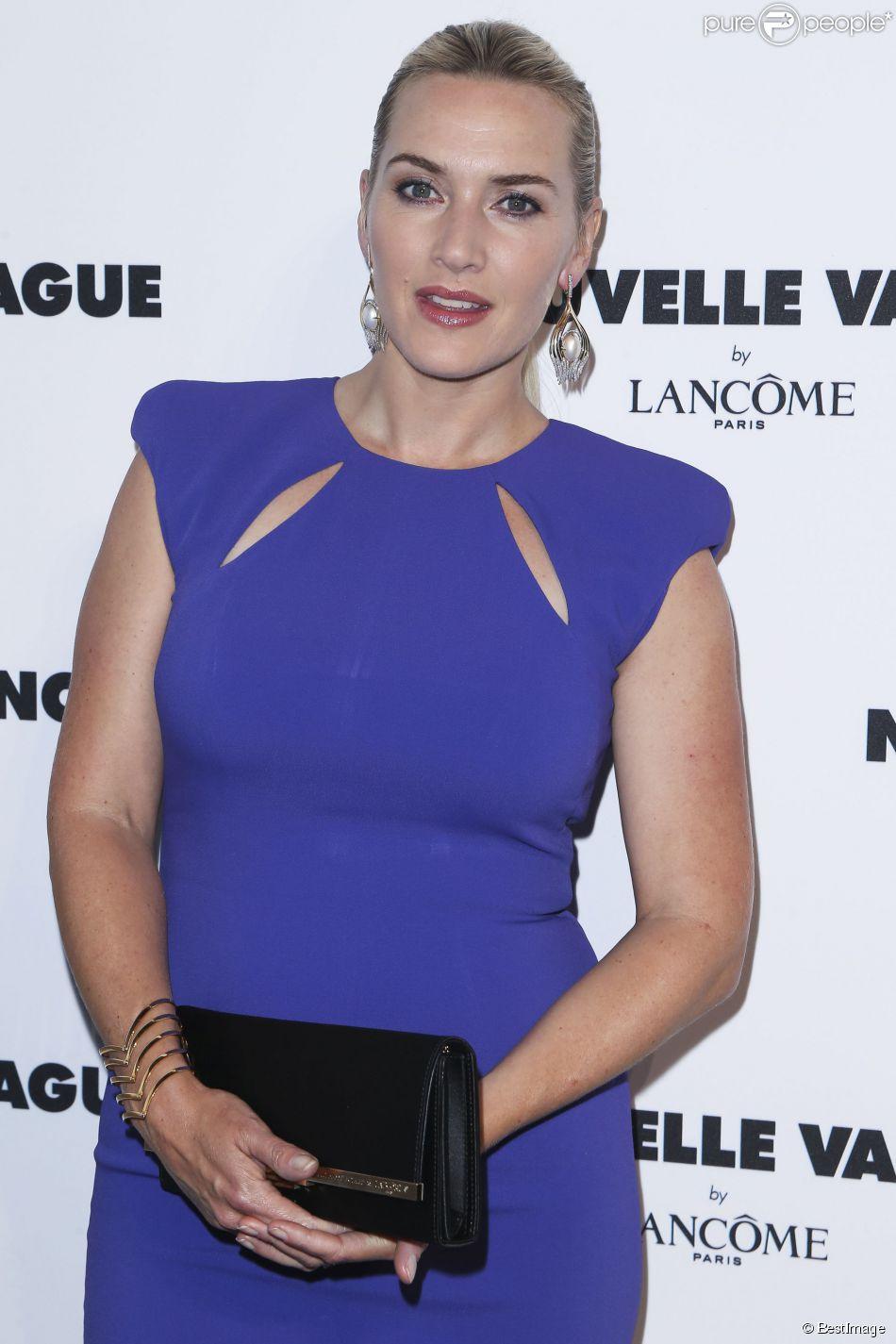 """Kate Winslet lors de la soirée """"Nouvelle Vague by Lancôme"""" au Palais Brogniart à Paris, le 9 juillet 2014."""
