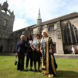 Camilla Parker Bowles en visite à Aberdeen, en Ecosse, le 8 juillet 2014, en sa qualité de chancelière de l'université de la ville, où elle a remis des diplômes.