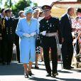 La reine Elizabeth II, avec son époux le duc d'Edimbourg, se déplaçait le 10 juillet 2014 à Matlock.