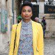 Imany arrive au Palais des Beaux-Arts pour assister au défilé haute couture Zuhair Murad automne-hiver 2014-2015. Paris, le 10 juillet 2014.