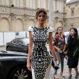 Isabelle Funaro arrive au Palais des Beaux-Arts pour assister au défilé haute couture Zuhair Murad automne-hiver 2014-2015. Paris, le 10 juillet 2014.