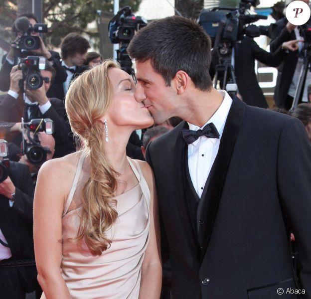 Novak Djokovich et Jelena Ristic sur le tapis rouge du Festival de Cannes, le 17 mai 2011