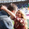 Shakira et son compagnon Gerard Piqué - La chanteuse Shakira, son compagnon Gerard Piqué et leur fils Milan lors de la finale de la coupe du monde de la FIFA 2014 Allemagne-Argentine à Rio de Janeiro, le 13 juillet 2014.
