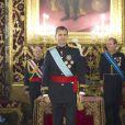 Le roi Felipe VI d'Espagne reçoit les lettres de créance des nouveaux ambassadeurs étrangers lors d'une cérémonie au palais royal à Madrid, le 17 juillet 2014.
