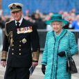 La reine Elizabeth II et le duc d'Edimbourg lors du baptême du HMS Queen Elizabeth à Forsyth le 4 juillet 2014
