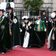 La reine Elizabeth II et la famille royale lors des cérémonies de l'ordre du chardon à Edimbourg le 3 juillet 2014