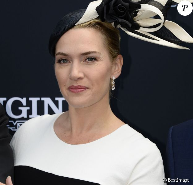 """Kate Winslet au 165e """"Prix de Diane Longines"""" à l'hippodrome de Chantilly le 15 juin 2014."""